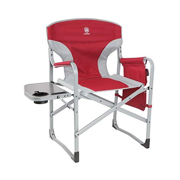 ディレクターズチェア サイドテーブル付き レッド 赤 折りたたみ椅子 キャンプ アウトドア BBQ 花見 リラックスチェア コンパクトチェア ガーデンチェア フルバックアルミ 頑丈 耐荷重136kg EVER ADVANCED Full Back Aluminum Folding Directors Chair with Side Table