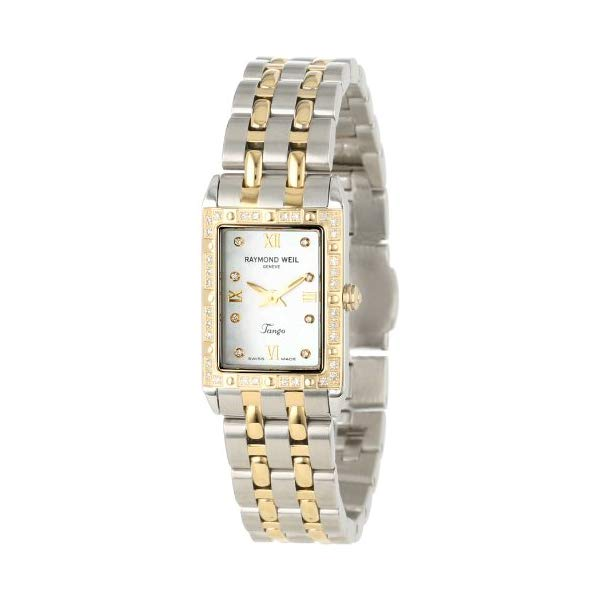 レイモンドウィル レディース 腕時計 Raymond Weil Women's 5971-SPS-00995 Tango Rectangular Two-Tone 40 Diamonds Watch