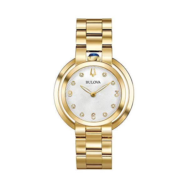 ブローバ ルバイヤート レディース 腕時計 Ladies' Bulova Rubaiyat Diamond Yellow Gold-Tone Stainless Steel Watch 97P125