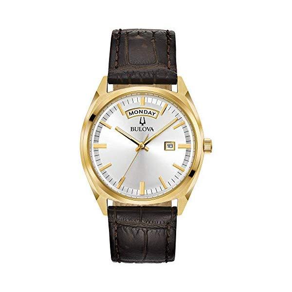 ブローバ メンズ 腕時計 Bulova Men's Classic Stainless Steel Quartz Watch with Leather-Crocodile Strap, Brown, 20 (Model: 97C106)
