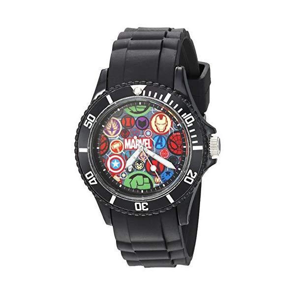 マーベル キッズ腕時計 MARVEL Men's Classic Analog-Quartz Watch with Plastic Strap, Black, 20 (Model: WMA000068