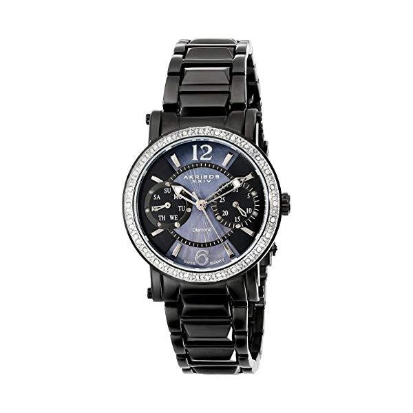 アクリボス レディース 腕時計 Akribos XXIV Women's AKR472BK Lady Diamond Collection Diamond Swiss Day and Date Watch
