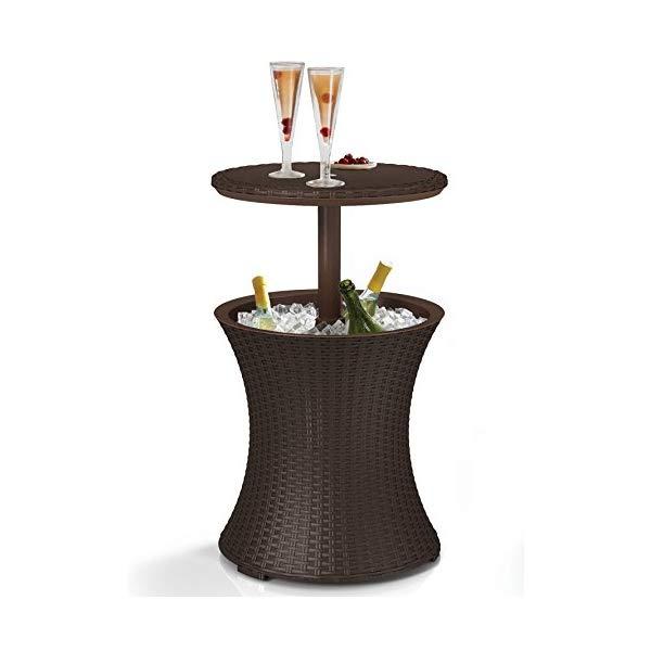 ケーター クールバー プールクーラーテーブル Keter 7.5-Gal Cool Bar Rattan Style Outdoor Patio Pool Cooler Table, Brown