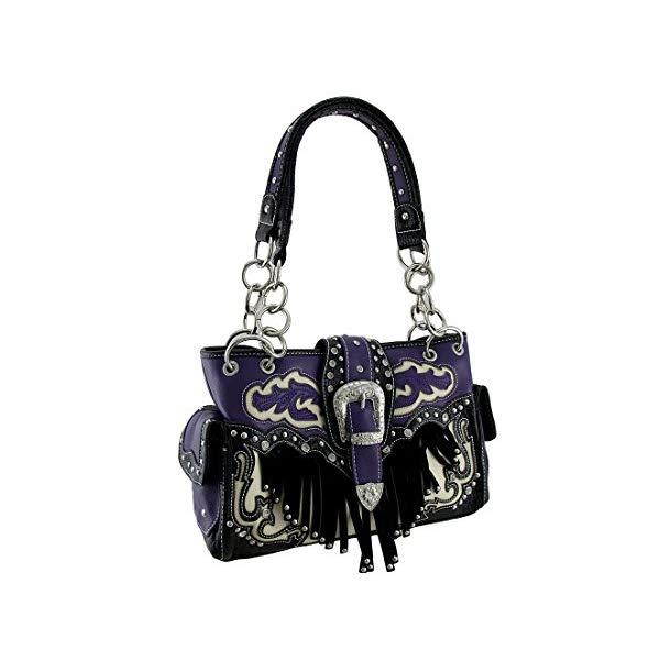 ビニール ウエスタン スタイル ショルダーバッグ ハンドバッグ レディース 女性用 ブラック Western Style Rhinestone Buckle Stud Fringe Concealed Carry Purse