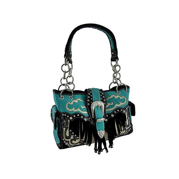 ビニール ウエスタン スタイル ショルダーバッグ ハンドバッグ レディース 女性用 ターコイズ Western Style Rhinestone Buckle Stud Fringe Concealed Carry Purse