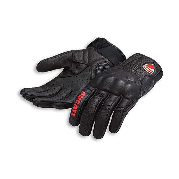 ドゥカティ ロゴ グローブ C1 スピードレザー 手袋 Mサイズ ブラック 黒 Ducati Logo C1 Speed Leather Motorcycle Glove Black Medium