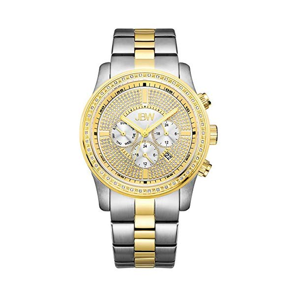JBW メンズ腕時計 シルバー ゴールド Luxury Men's Vanquish 0.42 ctw Diamond Wrist Watch with Stainless Steel Link Bracelet J6337A