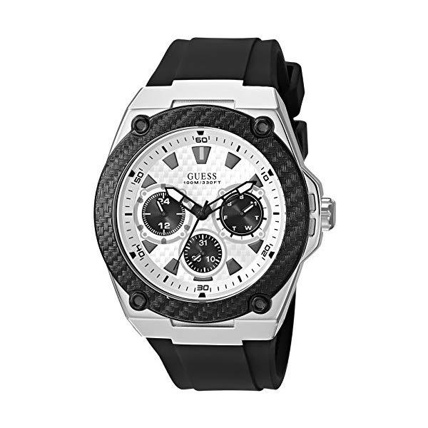 ゲス メンズ腕時計 GUESS Black and Silver-Tone Sporty Watch U1049G3