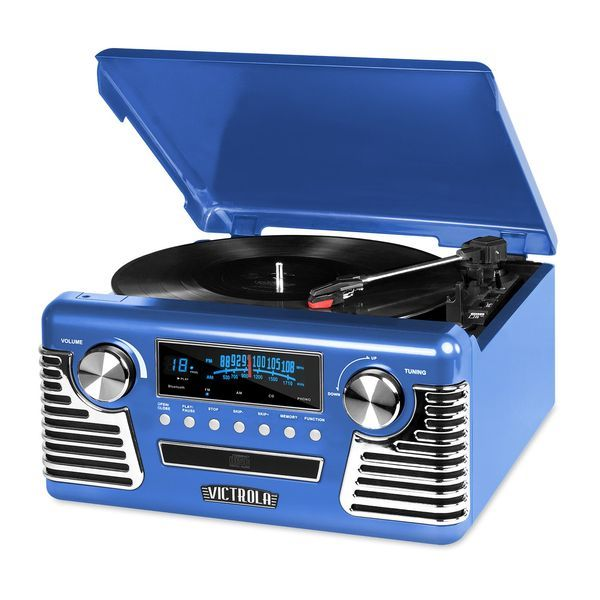 ビクトリア 50年代 スピーカー ブルー Victrola 50's Retro 3-Speed Bluetooth Turntable with Stereo, CD Player and Speakers, Blue