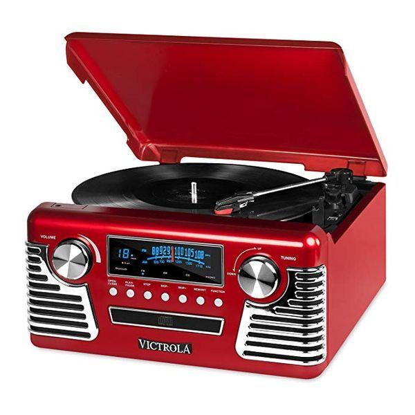 ビクトリア 50年代 スピーカー レッド Victrola 50's Retro 3-Speed Bluetooth Turntable with Stereo, CD Player and Speakers, Red