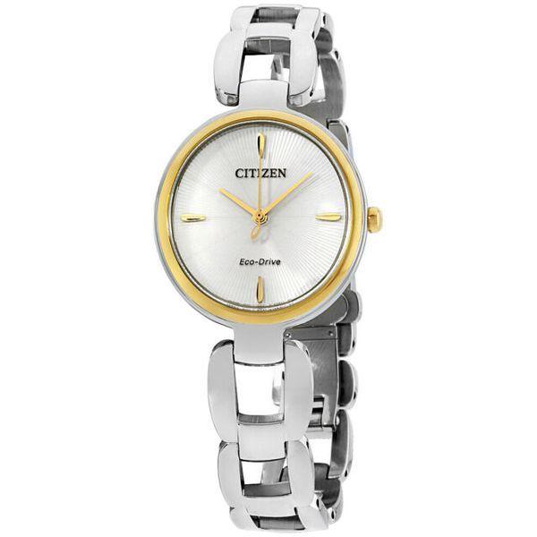 シチズン レディース 腕時計 Citizen Women's 'Eco-Drive L' Quartz Stainless Steel Dress Watch, Color:Silver-Toned (Model: EM0424-53A)