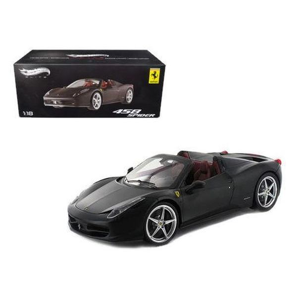 ホットウィール フェラーリ 模型 Hot wheels X5485 Ferrari 458 Italia Spider Matt Black Elite Edition 1/18 Diecast Car Model by Hotwheels