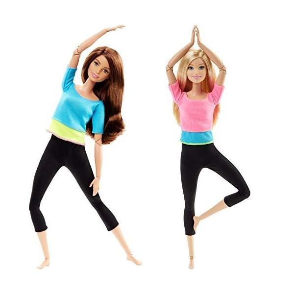 バービー 人形 Barbie Made to Move Barbie Doll, Blue Top and Made to Move Barbie Doll, Pink Top Bundle