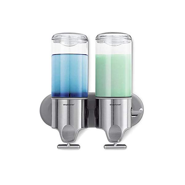 シンプルヒューマン ディスペンサー ダブル シャンプー simplehuman Double Wall Mount Shower Pump, 2 x 15 fl. oz. Shampoo and Soap Dispensers, Stainless Steel