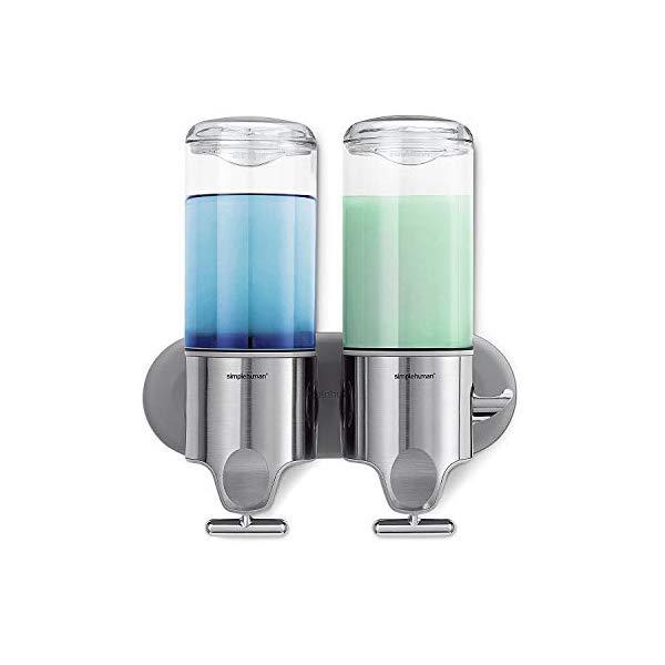 シンプルヒューマン ディスペンサー ダブル シャンプー simplehuman Double Wall Mount Shower Pump, 2 x 15 fl. oz. Shampoo and Soap Dispensers, Stainless Steel