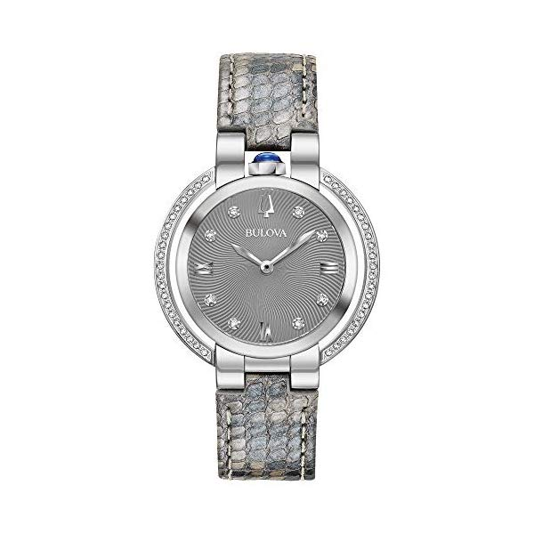 ブローバ ルバイヤート レディース 腕時計 Ladies' Bulova Rubaiyat Diamond Grey Python Leather Strap Watch 96R218