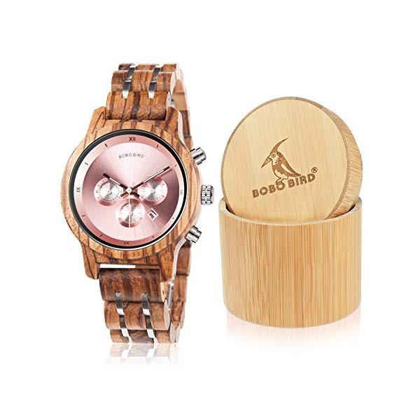ボボバード レディース 腕時計 BOBO BIRD P18-3 Women Wooden Watches Luxury Wood Metal Strap Chronograph & Date Display Quartz Watch Fashion Zebra Wood Casual Business Ebony Wristwatches