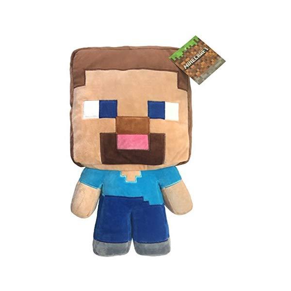 マインクラフト スティーブ ぬいぐるみ クッション ピロー まくら 抱き枕 グッズ おもちゃ Jay Franco Mojang Minecraft Steve Plush Pillow Buddy Kids Super Soft Polyester Microfiber, 16 inch (Official Product)
