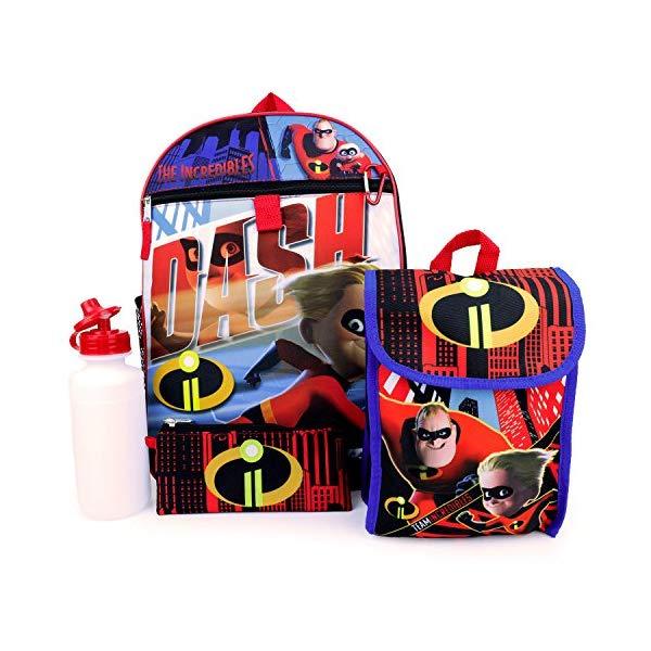インクレディブル・ファミリー グッズ ミスターインクレディブル バックパック リュック バッグ カバン 鞄 Trendy Apparel Shop Incredibles 2 Dash 5 Piece Lunch Bag Bottle Backpack Combo - ROYAL
