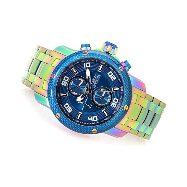 インビクタ 腕時計 INVICTA インヴィクタ 時計 プロダイバー Invicta Men's 48mm Pro Diver Scuba Carbon 1.0 Iridescent Quartz Chronograh Blue Dial Bracelet Stainless Steel Watch