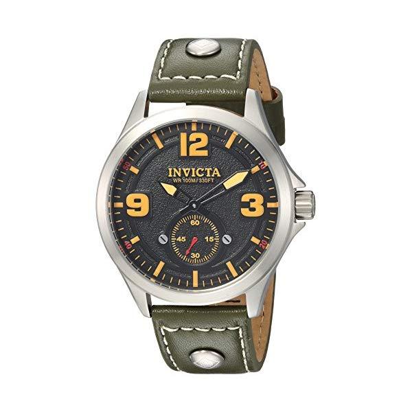 インビクタ 腕時計 INVICTA インヴィクタ 時計 アビエーター Invicta Men's 'Aviator' Quartz Stainless Steel and Leather Casual Watch, Color Green (Model: 22529)