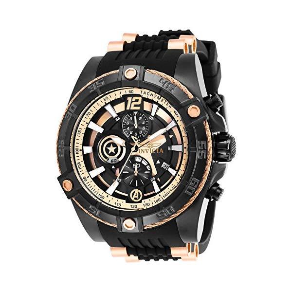 """インビクタ 腕時計 INVICTA インヴィクタ 時計 マーベル キャプテンアメリカ Invicta Men""""s 26791 Marvel Quartz Multifunction Rose Gold, Black Dial Watch"""