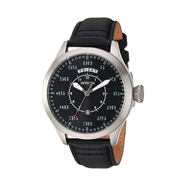 インビクタ 腕時計 INVICTA インヴィクタ 時計 アビエーター Invicta Men's 'Aviator' Quartz Stainless Steel and Leather Casual Watch, Color:Black (Model: 22972)
