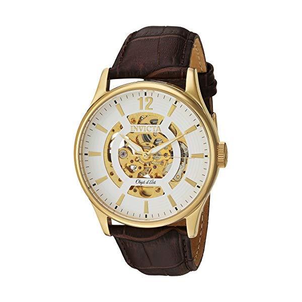 インビクタ 腕時計 INVICTA インヴィクタ 時計 オブジェ D アート Invicta Men's 'Objet D Art' Automatic Stainless Steel and Leather Casual Watch, Color:Brown (Model: 22595)