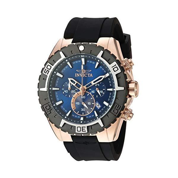 インビクタ 腕時計 INVICTA インヴィクタ 時計 アビエーター Invicta Men's 'Aviator' Quartz Gold and Silicone Casual Watch, Color:Black (Model: 22524)