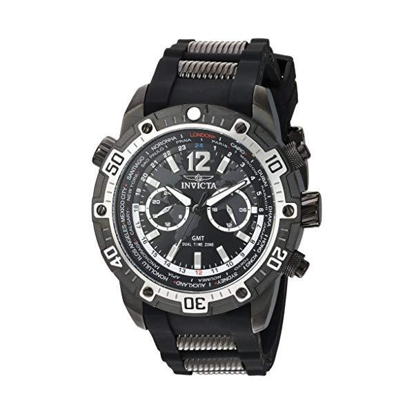 インビクタ 腕時計 INVICTA インヴィクタ 時計 アビエーター Invicta Men's 'Aviator' Quartz Stainless Steel and Silicone Casual Watch, Color:Black (Model: 24583)