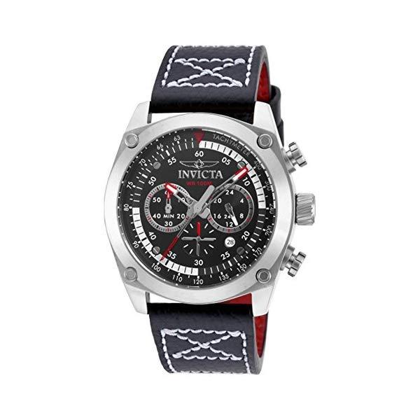 インビクタ 腕時計 INVICTA インヴィクタ 時計 アビエーター Invicta 90271 Mens Aviator Black Leather Chronograph Watch