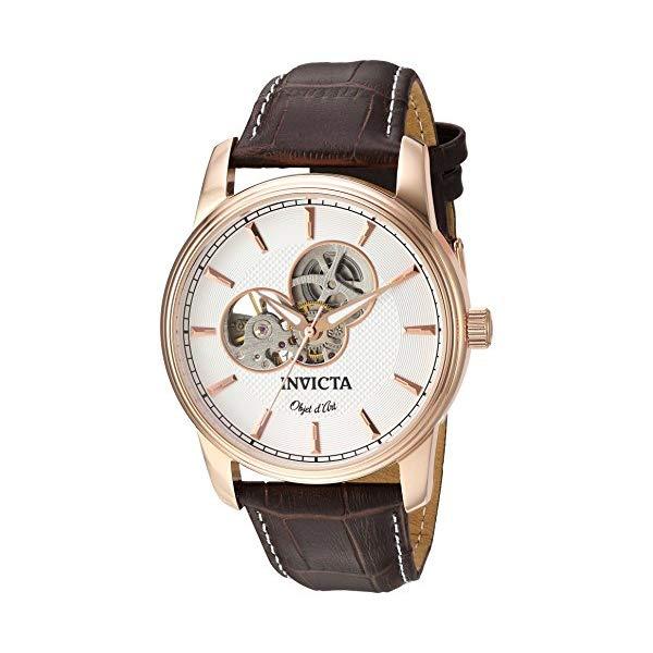 インビクタ 腕時計 INVICTA インヴィクタ 時計 オブジェ D アート Invicta Men's 'Objet d'Art' Automatic Stainless Steel and Leather Casual Watch, Color Brown (Model: 22618)