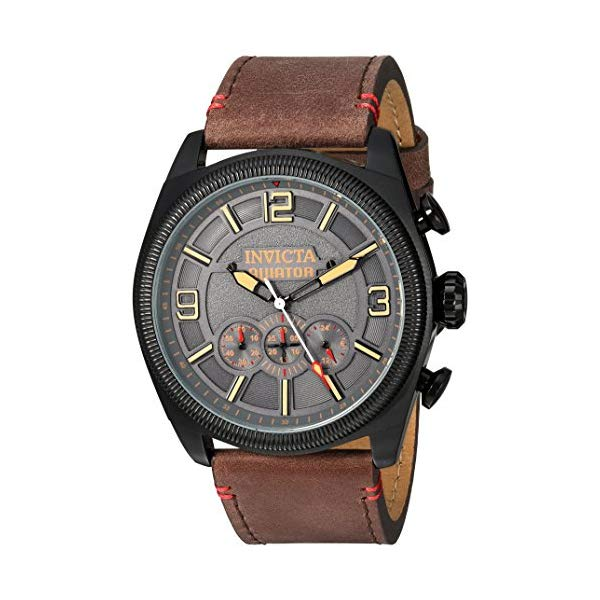 インビクタ 腕時計 INVICTA インヴィクタ アビエーター メンズ 男性用 22988 Invicta Men's Aviator Stainless Steel Quartz Watch with Leather-Calfskin Strap, Brown, 26 (Model: 22988)