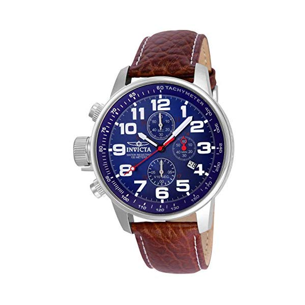 インビクタ 腕時計 INVICTA インヴィクタ フォース メンズ 男性用 3328 Invicta Men's 3328 Force Collection Stainless Steel Left-Handed Watch with Leather Band, Brown/Blue Dial
