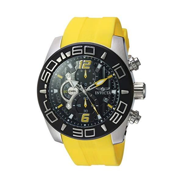 インビクタ 腕時計 INVICTA インヴィクタ プロダイバー メンズ 男性用 22808 Invicta Men's Pro Diver Stainless Steel Quartz Watch with Silicone Strap, Yellow, 26 (Model: 22808)