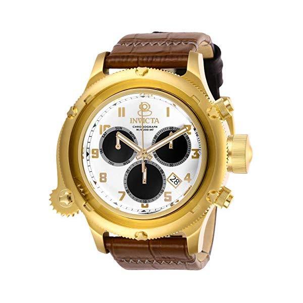 インビクタ 腕時計 INVICTA インヴィクタ ロシアンダイバー メンズ 男性用 26458 Invicta Men's Russian Diver Stainless Steel Quartz Watch with Leather Strap, Brown, 26 (Model: 26458)