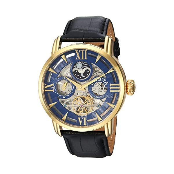 インビクタ 腕時計 INVICTA インヴィクタ オブジェクト D アート メンズ 男性用 22651 Invicta Men's Objet d'Art Stainless Steel Automatic-self-Wind Watch with Leather-Calfskin Strap, Black, 24 (Model: 22651)