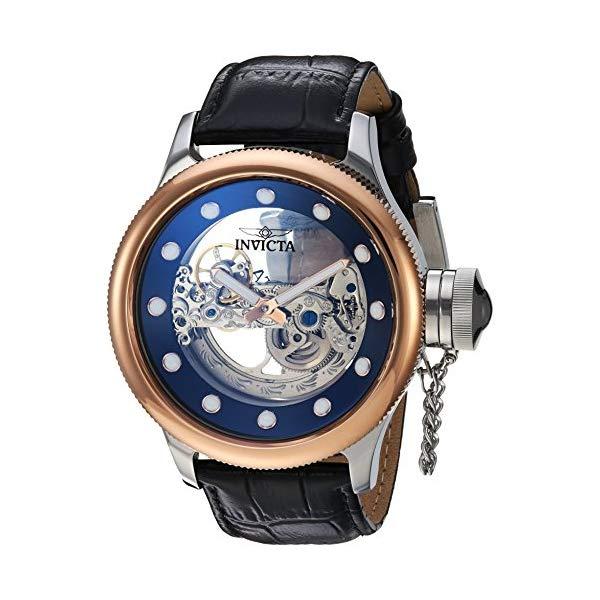 インビクタ 腕時計 INVICTA インヴィクタ ロシアンダイバー メンズ 男性用 24595 Invicta Men's Russian Diver Stainless Steel Automatic-self-Wind Watch with Leather Calfskin Strap, Black, 26 (Model: 24595)
