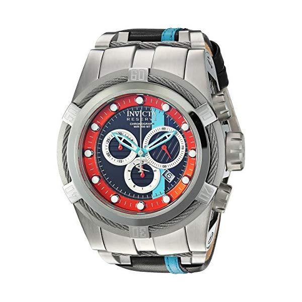 インビクタ 腕時計 INVICTA インヴィクタ リザーブ メンズ 男性用 26471 Invicta Men's Reserve Stainless Steel Quartz Watch with Leather-Synthetic Strap, Black, 25.6 (Model: 26471)
