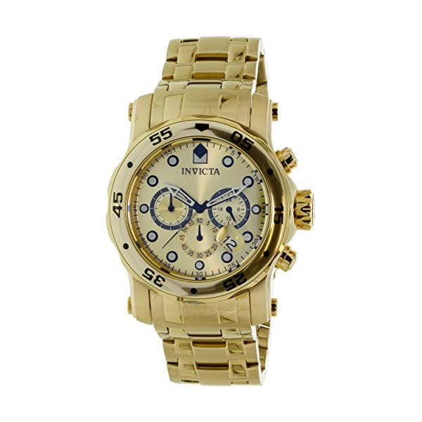 インビクタ 腕時計 INVICTA インヴィクタ プロダイバー 23652 Invicta Men 48mm PRO DIVER Scuba 18K GP Chronograph Gold Dial Stainless Steel Watch With Extra Starp & Case