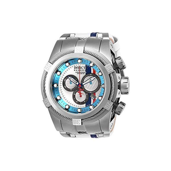 インビクタ 腕時計 INVICTA インヴィクタ リザーブ メンズ 男性用 26469 Invicta Men's Reserve Stainless Steel Quartz Watch with Leather-Synthetic Strap, White, 27 (Model: 26469)