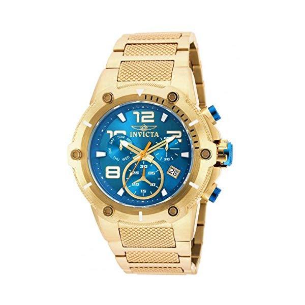 インビクタ 腕時計 INVICTA インヴィクタ スピードウェイ メンズ 男性用 19532 Invicta Speedway Chronograph Blue Dial Gold Ion-plated Mens Watch 19532
