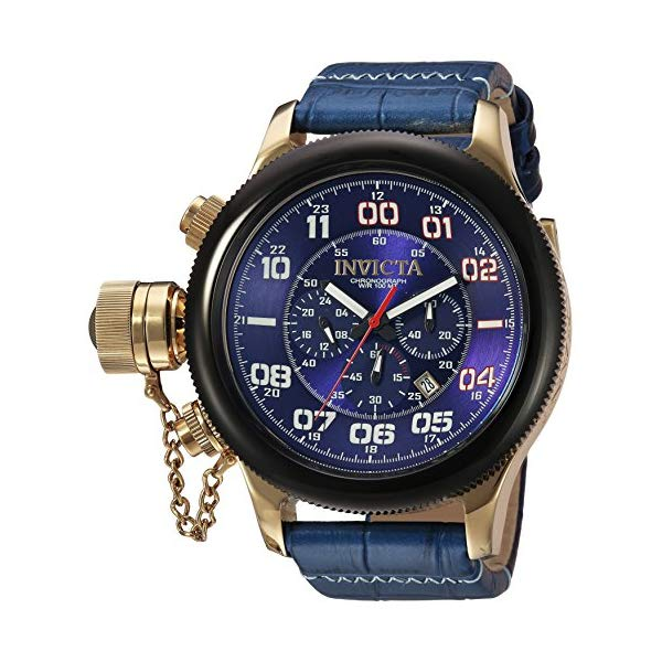 インビクタ 腕時計 INVICTA インヴィクタ ロシアンダイバー メンズ 男性用 22292 Invicta Men's Russian Diver Stainless Steel Quartz Watch with Leather-Calfskin Strap, Blue, 26 (Model: 22292)