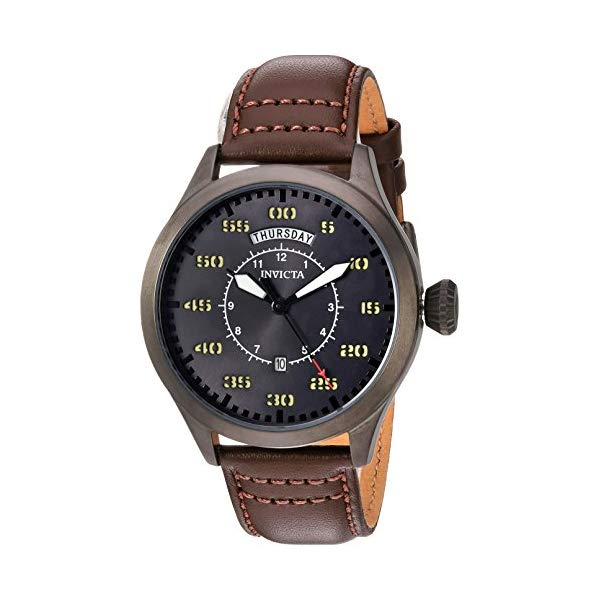 インビクタ 腕時計 INVICTA インヴィクタ アビエーター メンズ 男性用 22975 Invicta Men's Aviator Stainless Steel Quartz Watch with Leather Calfskin Strap, Brown, 22 (Model: 22975)