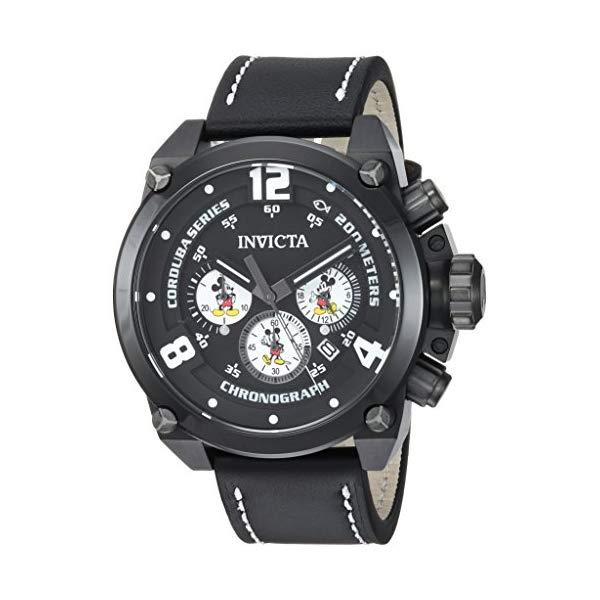 インビクタ INVICTA インヴィクタ 腕時計 ウォッチ 22757 ディズニー 限定 ミッキー メンズ 男性用 Invicta Men's Disney Limited Edition Stainless Steel Quartz Watch with Leather Calfskin Strap, Black, 24 (Model: 22757)