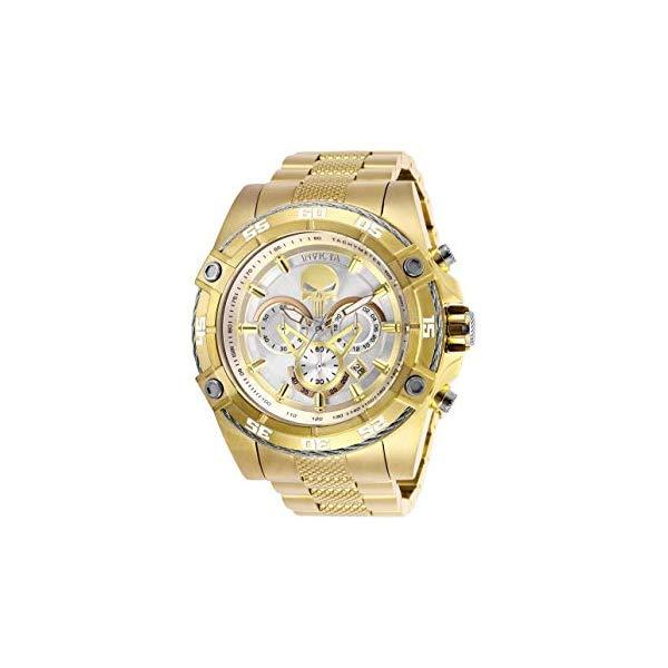 インビクタ INVICTA インヴィクタ 腕時計 ウォッチ MARVEL マーベル パニッシャー メンズ 男性用 Invicta Men's Marvel Quartz Watch with Stainless-Steel Strap, Silver/Gold, 26