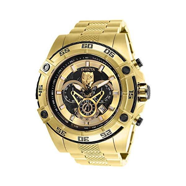 インビクタ INVICTA インヴィクタ 腕時計 ウォッチ MARVEL マーベル ブラックパンサー INVICTA Marvel Men 52mm Stainless Steel Gold Band, Black dial Quartz Watch