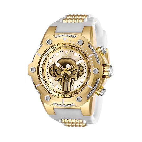 """インビクタ INVICTA インヴィクタ 腕時計 ウォッチ MARVEL 26924 マーベル パニッシャー メンズ 男性用 Invicta Men""""s Marvel Stainless Steel Quartz Watch with Silicone Strap, White, 30 (Model: 26924)"""
