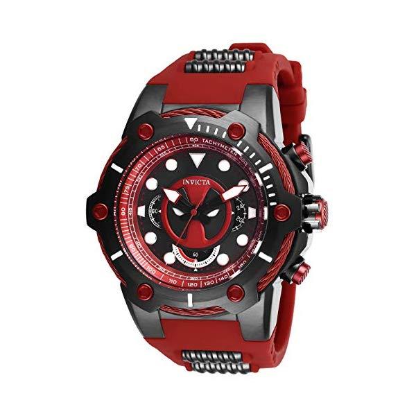 インビクタ INVICTA インヴィクタ 腕時計 ウォッチ MARVEL 27487 マーベル デッドプール メンズ 男性用 Invicta Men's Marvel Stainless Steel Quartz Watch with Silicone Strap, Black, 30 (Model: 27487)