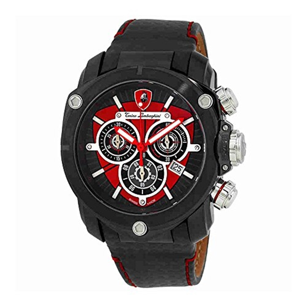 ランボルギーニ 腕時計 時計 Lamborghini Spyder 3200 Red Opaque Dial Mens Chronograph Watch 3202
